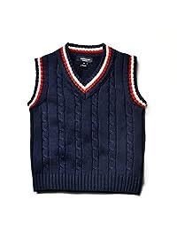 Kids Boys Knit Sweater Vest V-Neck Students Sweater Dark Blue 2T-7T
