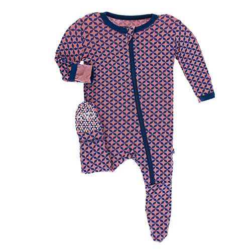 (Kickee Pants Little Girls Print Footie with Zipper - Desert Rose Taj Mahal, 6-9)