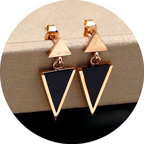 (WaMLFac Titanium Steel Rose Gold Stud Earring Black Triangle Dangle Tassel Drop Hollow Earrings For Women)
