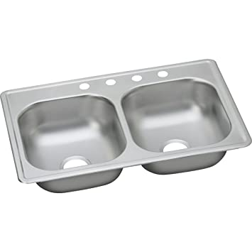 elkay dayton d233194 equal double bowl top mount stainless steel kitchen sink