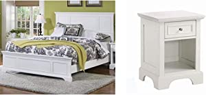 Naples White Queen Bed by Home Styles & Naples White Nightstand with Drawer, Mahogany Hardwood Solids and Engineered Woods, and Open Storage Space
