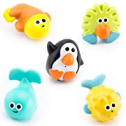 Sassy Bathtime Pals Squirt and Float Toys 9+ Months Set Of 5 Assorted Squirt and Float Sea Characters Promotes Early STEM Learning By Teaching A Child About: Constructing, Cause & Effect, Buoyancy