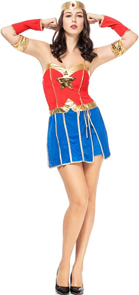 NCY Disfraz De Superman Captain Wonder Women Cosplay Lady Fancy ...