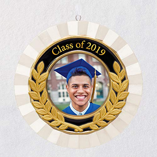 Hallmark Keepsake 2019 Year Dated Graduation Porcelain and Metal Photo Frame Ornament, Congrats, Grad!, -