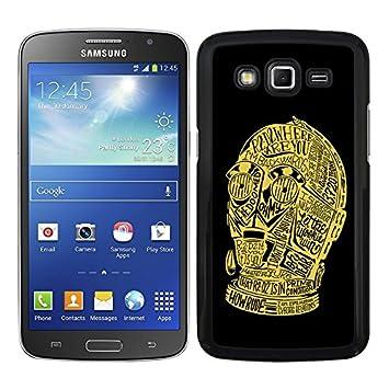 Funda carcasa para Samsung Galaxy Grand 2 C3PO cara fondo negro SWV borde negro