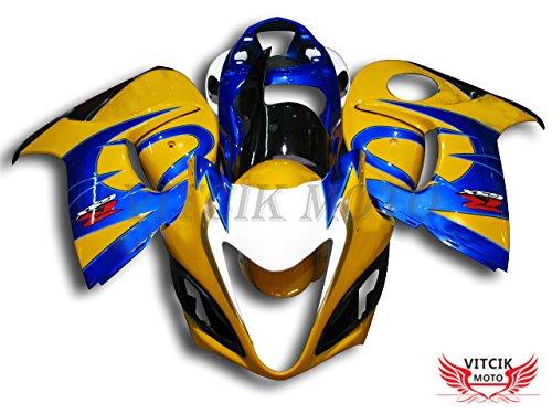 VITCIK (フェアリングキット 対応車種 スズキ Suzuki GSXR1300 GSX-R 1300 GSXR 1300 Hayabusa 2008-2015) プラスチックABS射出成型 完全なオートバイ車体 アフターマーケット車体フレーム 外装パーツセット(イエロー & ブルー) A013   B072HJM6Y9