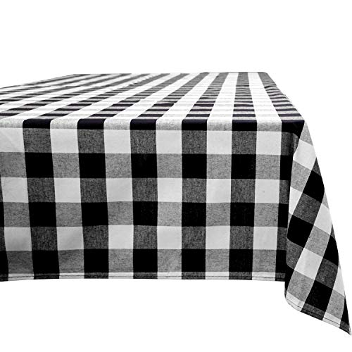 Aneco Buffalo Check Rectangle Tablecloth Table Cloth Cotton Tablecloth Check Plaid Tablecloth for Indoor Outdoor Events 54 x 54 Inches Black and White (Tablecloth Christmas White Black And)
