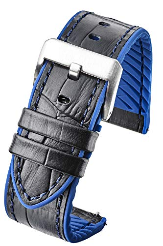 Genuine Alligator Grain Leather Watch Band with Silicone Waterproof Lining and Quick Release Steel Spring Bars - Black/Blue - 22mm