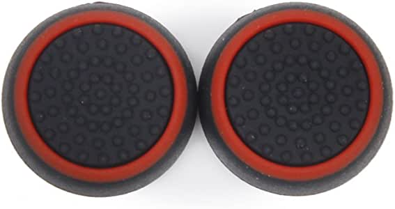 KESOTO 2-in-1 Silicone Thumb Grips Thumbstick Caps Gamepad Joystick Cover for PS4, PS3, PS2, Xbox One, Xbox 360 Controller Replacement Parts - Red