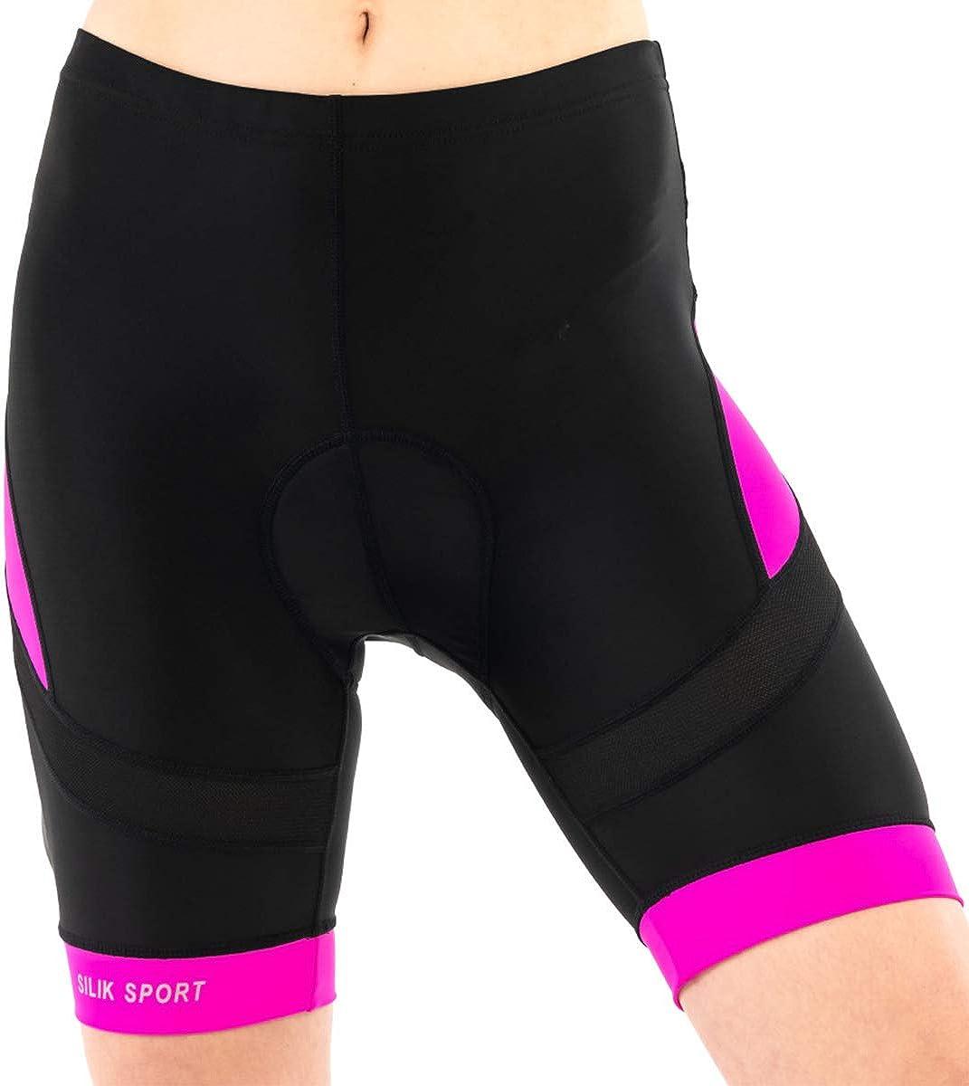 Silk Short de cyclisme pour femme avec sous-v/êtement de compression respirant et rembourr/é