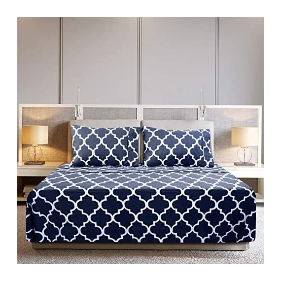 Utopia Bedding Printed Bed Sheet Set - 1 Fitted Sheet, 1 Flat Sheet and 2 Pillowcases - Soft Brushed Microfiber Fabric - Shrinkage and Fade Resistant (Queen, Navy Quatrefoil with White Pattern) - BED SHEET SET - Includes 1 flat sheet measuring 90 by 102 inches with a 4 inches self-hem; 1 fitted sheet measuring 60 by 80 inches with a 15 inches box for over sized bedding and 2 pillowcases measuring 20 by 30 inches each BRUSHED MICROFIBER - Polyester brushed microfiber fabric is twice as fine as silk that gives a soft feel and maximum comfort SOFT AND COMFORTABLE - Soft and comfortable material gives you the best of sleeping experience - sheet-sets, bedroom-sheets-comforters, bedroom - 51M4geRUB5L. SS570  -