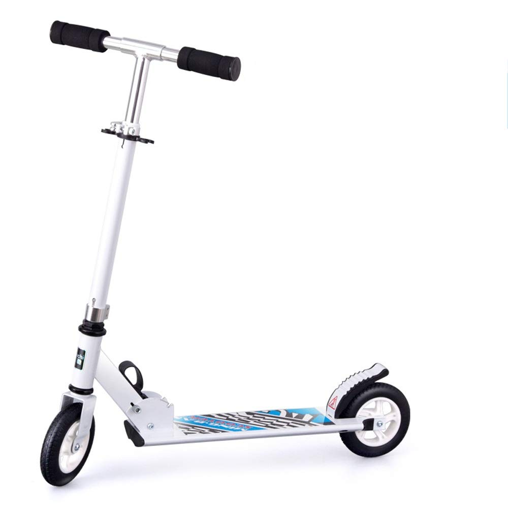 FDSjd Scooter King Scooter Folding Two Wheels Three Wheels Yo-Yo Beginner Big Boy Scooter (Color : White, Edition : Two Rounds)