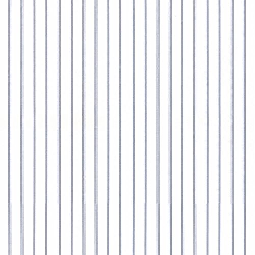 Norwall SY33929 Ticking Stripe Wallpaper - Stripe Theme in Light Blue, White - Double Roll