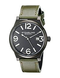 Stuhrling Original Men's 454.3355D1 Leisure Eagle Osprey Swiss Quartz Date Green Leather Strap Watch