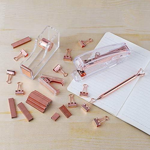 KIDMEN Rosegold Desk Accessory Kit,Set of Stapler, Staple Remover,1000pcs Staples,Tape Dispenser,Big Diamond Ballpoint Pen and 10pcs Binder Clips 51M4h8mQwQL