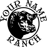 ANGUS COW HEAD RANCH DECAL CUSTOM MADE WITH YOUR FARM NAME