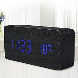 Quality Digital Led Alarm Clock Sound Control Wooden Despertador Desktop Clock Usb/Aaa Powered Temperature Display^Blue.