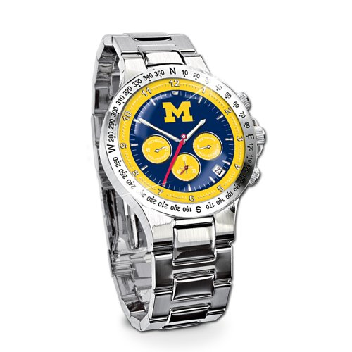 Michigan Wolverines Stainless Steel Chronograph Men's Collector's Watch