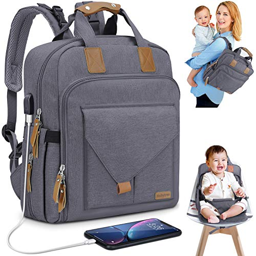 Diaper Bag Backpack with Child Safety Seat 2 in 1 Multifunction of Multiple Pockets Stroller Luggage Straps USB Port Large Capacity MUBYTREE (Dark Gray) ()