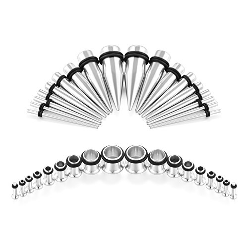 Fectas 14G-00G 36pcs Ear Gauges Stretching Kit Tapers Plugs Eyelets Implant Grade Steel Silver by Fectas