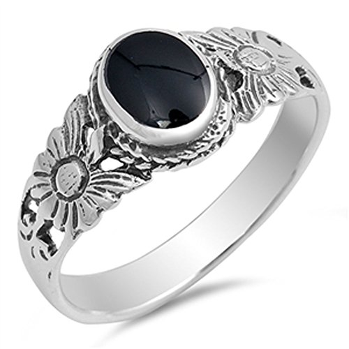 Flower Simulated Black Onyx Classic Bali Ring New .925 Sterling Silver Band Size 4