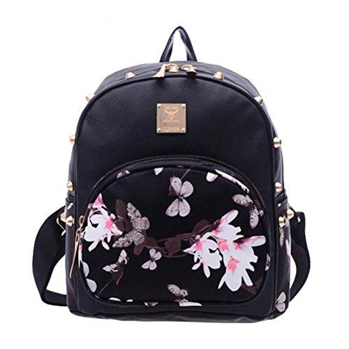 Donalworld Girl Floral School Bag Travel Cute PU Leather Mini Backpack M Black2 (23 Ladies Mini Watch)