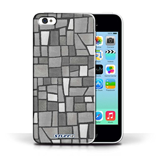 Etui / Coque pour Apple iPhone 5C / Gris/Blanc conception / Collection de Carrelage Mosaïque