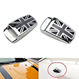 black union jack - iJDMTOY (2) Black UK Union Jack Style Window Wiper Washer Spray Nozzle Covers For MINI Cooper R50 R52 R55 R56 R57 R58 R60 R61, etc