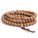 7mm 108 Natural Kalimantan Agarwood Beads Buddhist Prayer Mala Necklace Bracelet