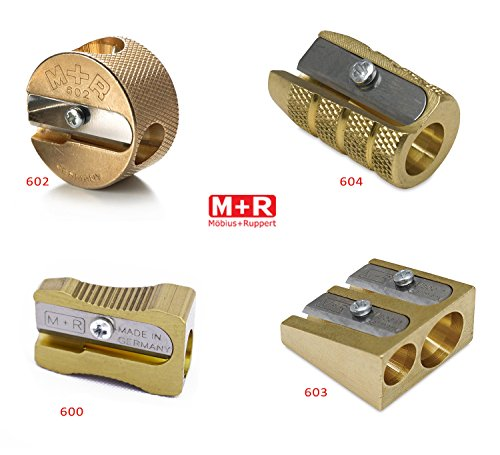 Mobius + Ruppert (M+R) Brass Artists Pencil Sharpener - choose from 4 shapes! Made in Germany - finest in the world! (603 - Double Wedge)