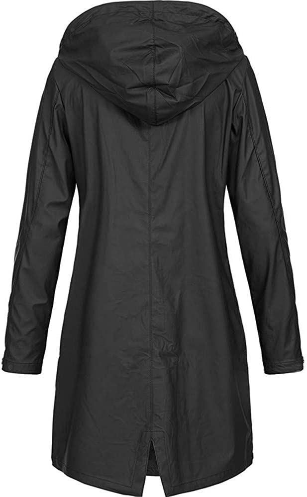 perfectCOCO Womens Waterproof Raincoat Rain Jacket Lightweight Outdoor Hoodie Long Windbreaker Coat Windproof Overcoat
