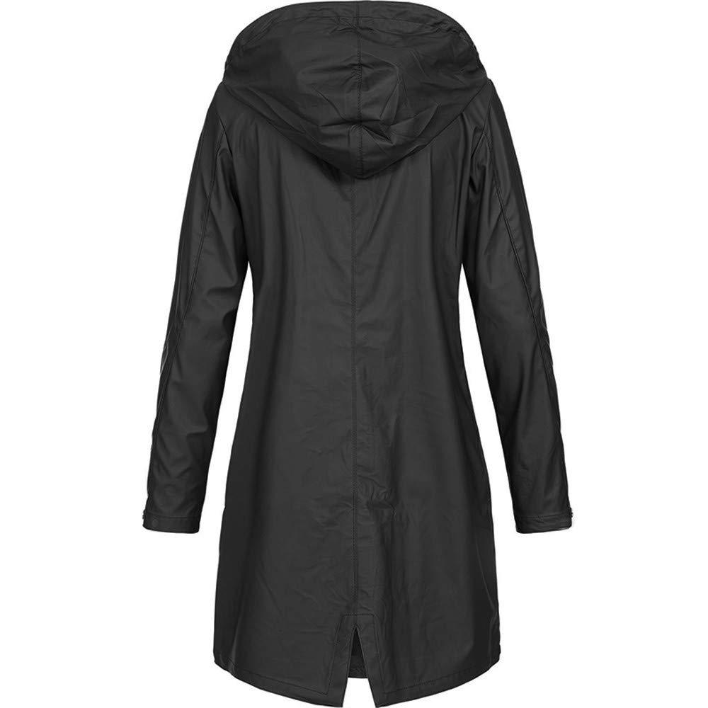 Faux Leather Jacket Women Plus Size Hoodies,Womens Solid Rain Jacket Outdoor Hoodie Waterproof Long Coat Overcoat Windproof