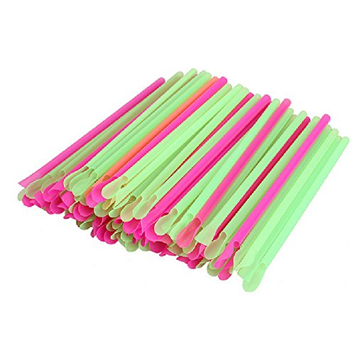 teerasmile 50pcs Multicolour Spoon Straw Disposable Spoon Plastic Drinking Straw Party Ice Smoothies Milk Shake Bar Snow Cone Candy Spoon (Drinking Quest Trilogy Edition)