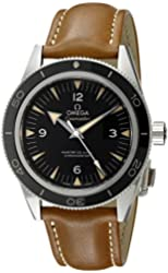 Omega Men's 'Seamaster' Swiss Stainless Steel and Leather Automatic Watch, Color:Brown (Model: 23332412101002)