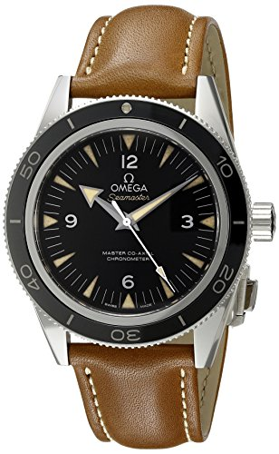 Omega Seamaster 300 Meter Automatic - Omega Men's 'Seamaster' Swiss Stainless Steel and Leather Automatic Watch, Color:Brown (Model: 23332412101002)