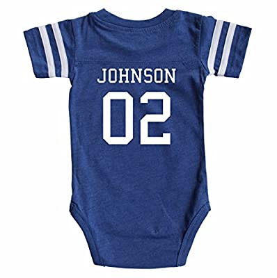 Rocket Bug Custom Football Sport Jersey Baby Bodysuit Personalized With Name and Number