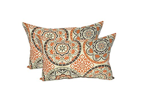 Set of 2 - Indoor/Outdoor Rectangle/Lumbar Decorative Throw/Toss Pillows