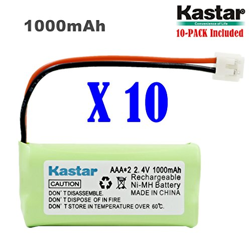 Kastar 10-PACK AAAX2 2.4V EH 1000mAh Ni-MH Rechargeable Battery for BT184342 BT284342 BT18433 BT28433 BT1011 BT-1022 BT-1031 Vtech CS6229 DS6301 Uniden Wxi3077 ECT4066 DECT4096 Motorola Cordless phone by Kastar