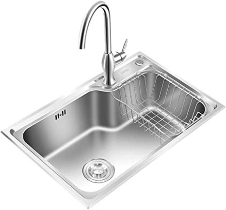 Amazon Com Single Bowl Kitchen Sinks Kitchen Sinks Reversible Kitchen Sink Inset Stainless Steel Sink Thickened Sink Eversible Drainer With Waste Pipes Clips Color Silver Size 654320cm Home Kitchen