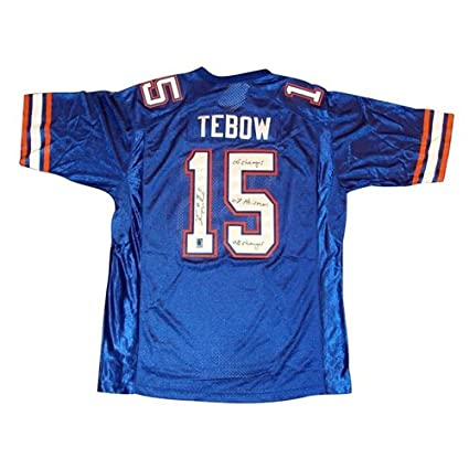 wholesale dealer cd33b 63062 Tim Tebow Autographed Florida Gators (Blue #15) Jersey w/