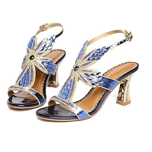 de Cómodo Verano Señoras Top Cristal Sexy Mujer Diamante Azul Delgada Verano Zapatos Sandalias Diamante de Cuero de Zapatos Sandalias Tacon Shishang Alto tqpRpTw