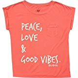 Billabong Big Girls' Peace and Love Short Sleeve Tee, Geranium, S