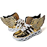 ONEKE LED Light up Shoes Running Shoes for Kids Boys Girls 4 Colors Flashing Wings Sneakers (4M Big Kid, Golden)