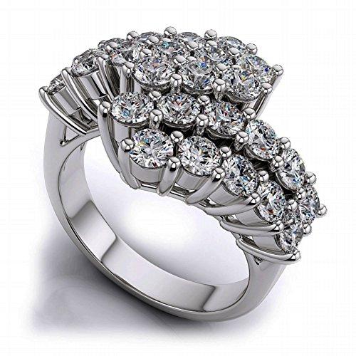 - JewelsForum 10K White Gold Clustered Diamond Ring With 1.25 Carat Diamonds Colour I-J Clarity I1-I2 With 25 round Cut Diamonds