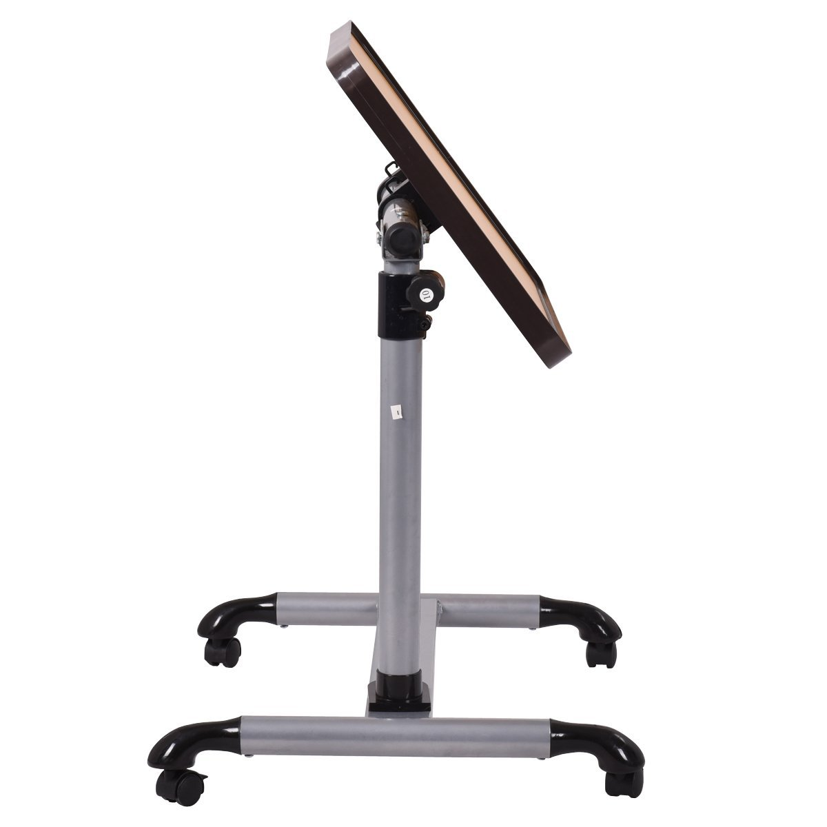 Costway Tavolino Porta PC Scrivania per Laptop Tavolo Laterale per Letto Divano con Ruote Altezza e Inclinazione Regolabile