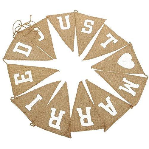 Hosaire Banderole Anniversaire Guirlande de Fanions Mariage Bannière Slogan JUST MARRIED Banderole en Jute Décor pour Fête de Mariage Anniversaire Hen Party