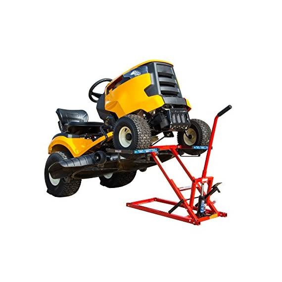 Pro Lift Lawn Mower Jack Lift with 300 Lbs Capacity for Tractors and Zero Turn Lawn Mowers 7 Safety Lock for Safely Supporting the Load Rubber Padded Platform to Prevent Scratching and to Protect your Machine Non-Slip Foot Pedal Allows Effortless Lifting the Load