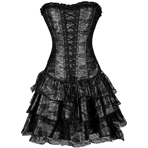[Tulle Short Ruffle Skirt Gothic Bustier Corset Dress Party Costume Black S] (Steampunk Corset Dress)