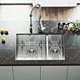 VIGO VG15180 All in One Undermount Stainless Steel Double Bowl Kitchen Sink and Chrome Faucet Set, 29-Inch