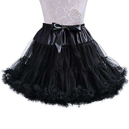 XinChangShangMao Women's Soft Chiffon Petticoat Tutu Skirt Black (Black Layered Skirt)